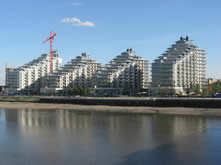 modern high rise developments next to the Thames